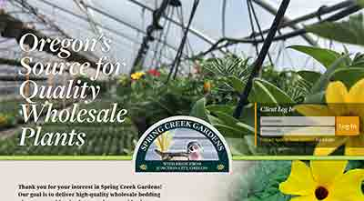 Image of the home page for Spring Creek Gardens